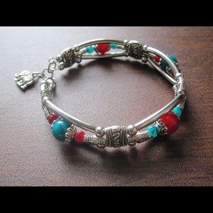 Handmade Turquoise Beaded Silver Bracelet Antique